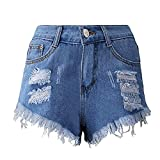 wodceeke Women's Jeans Trousers, Fashion Ripped Short Jeans Sexy Stretchy Destroyed Denim Shorts Mini Hot Pants (S, Blue)