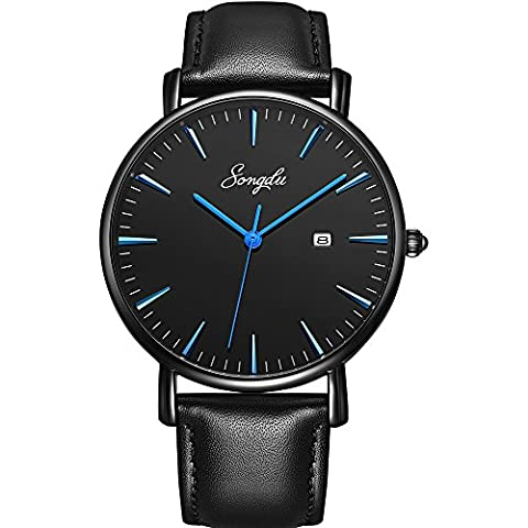 SONGDU Men's Ultra-Thin Quartz Analog Date Blue Hand Wrist Watch with Black Leather Strap (Watch With Date)