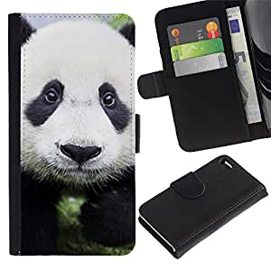 LECELL--Cuero de la tarjeta la carpeta del tirón Smartphone Slots Protección Holder For Apple Iphone 4 / 4S -- Bebé lindo de la panda --