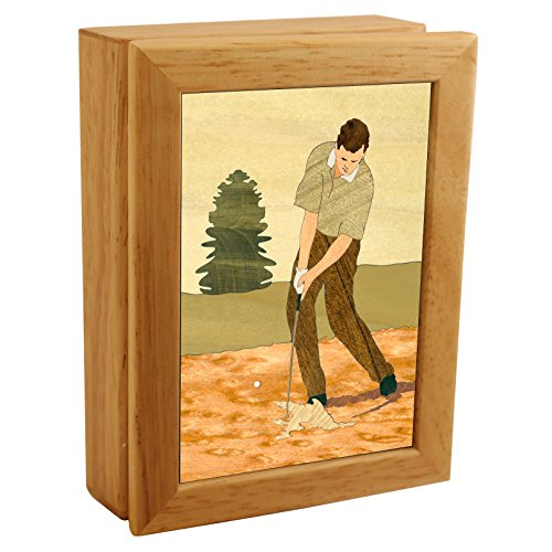 Wood Art Golf Box - Handmade in USA - Unmatched Quality - Unique, No Two are the Same - Original Work of Wood Art. A Golf Gift, Ring, Trinket or Wood Jewelry Box (#4503 Golf Sand Trap (Handmade Golf)