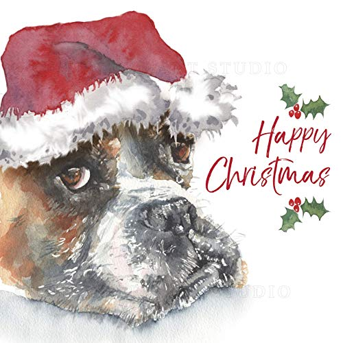 Happy Christmas Card with Sad Dog Queen Bee Art Studio Boxer Dog Christmas Card Boxer Dog Card with Santa Hat Happy Christmas from the Dog