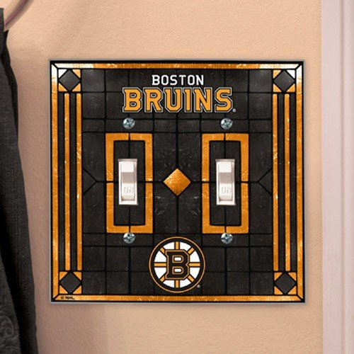 (Boston Bruins Art-Glass Double Switch Plate)