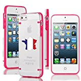 Apple iPhone 4 4s Ultra Thin Transparent Clear Hard TPU Case Cover France French Flag (Hot Pink)