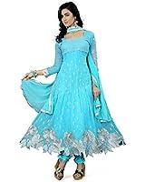 S R Fashion Women's Georgette Semi-Stitched Dress Material (S R - 011, Sky Blue)