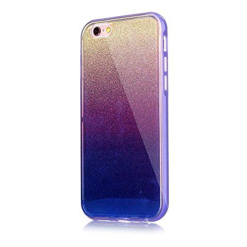 Blue-ray TPU PC Cell Phone Tasche Hüllen Schutzhülle Case für iPhone 6s Plus / 6 Plus with Flash Powder Paper - lila