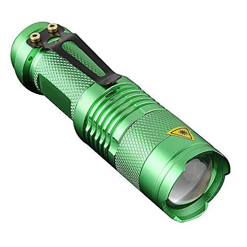 Watt Compact Fluorescent Adjustable Light (KORADA Mini LED Handheld Flashlight - Portable Outdoor Zoomable Waterproof Bright Adjustable Focus Zoom Light Lamp - Green (3 Mode Flashlight))
