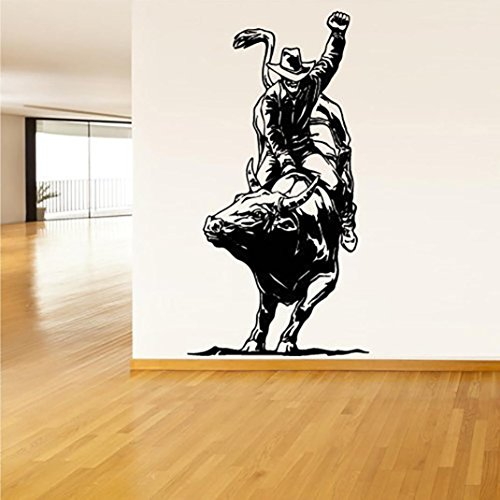 Xiting Cowboy Roper Horse Western Kids Room Decoration Home Decor Living Room Decorative Stickers Removable Wall Stickers Black
