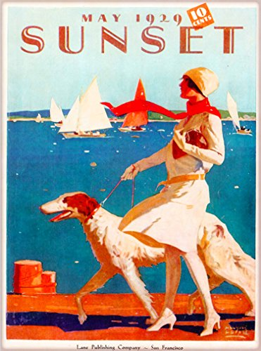 A SLICE IN TIME 1929 Sunset Magazine Girl Borzoi San Francisco Vintage California United States Travel Advertisement Art Poster Print. Measures 10 x 13.5 inches California State Poster Set