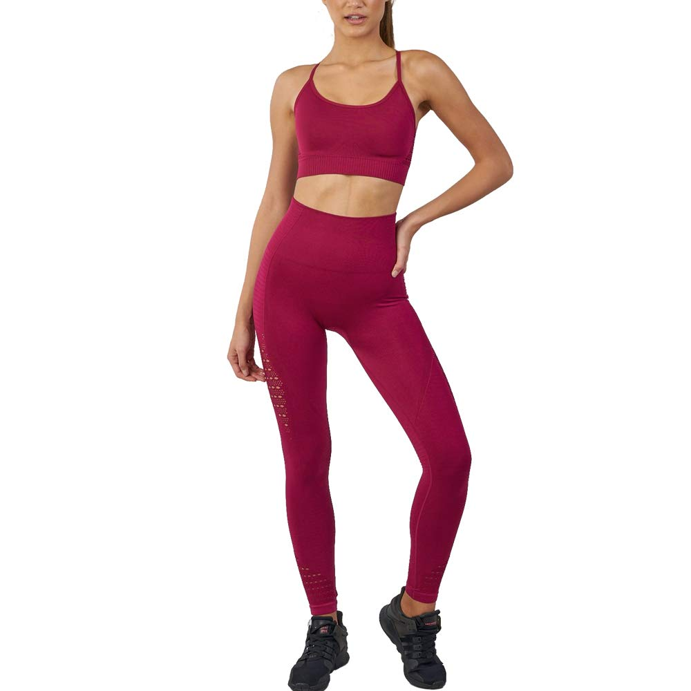 WODOWEI Women 2 Piece Outfits Leggings+Sports Bra Yoga Set Long Pants Tracksuits (YO316-red-S) by WODOWEI