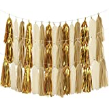 Tissue Paper Tassels, MerryNine 30 Pcs 2 Strings DIY Tassel Garland Banner for Wedding, Baby Shower, Event & Party Supplies (Tassels - Tan Ivory Gold Set)