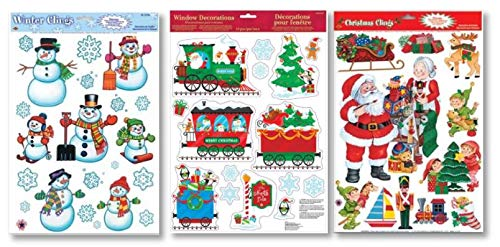 Winter Holiday Christmas Cheer Window Sticker Decal Clings: Bundle 3 Sheets Featuring Snowmen, Snowflakes, Christmas Train, Santas Workshop, Christmas Trees, Elves, Presents & More