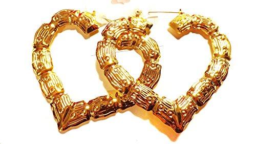 Large Bamboo Heart Hoop Earrings Gold Tone Earrings 3.5 Inch