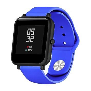 Saisiyiky 20mm Correa Compatible con AMAZFIT Bip Xiaomi Huami Banda/Pulsera/Ajustable para Smartwatch Reemplazo de Correa Banda de Silicona (Azul)
