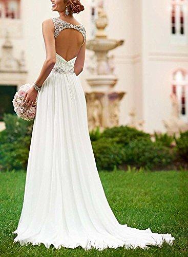 Dannifore Chiffon Beach Wedding Dresses Open Back Bridal ...