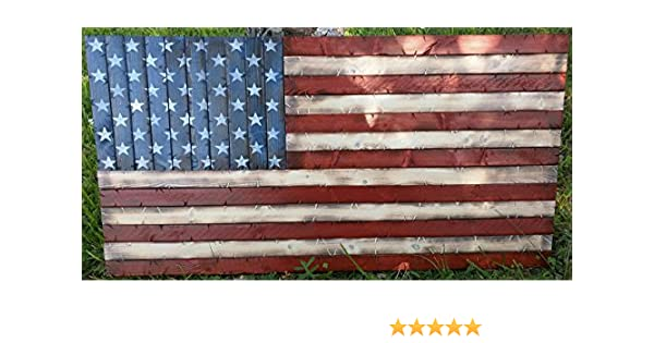 Amazon Rustic Wooden American Flag 19x37 Handmade