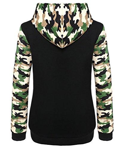 WanYang Sudadera Con Capucha Mujeres Manga Larga Hooded Sweatshirt Pullover Los Colores Mezclados Camisa De Entrenamiento Negro
