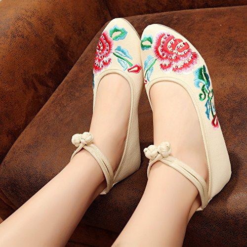tela zapatos étnico de tendón beige casual estilo moda femenina Chnuo lenguado cómodo Zapatos de bordados Twqp0Rz