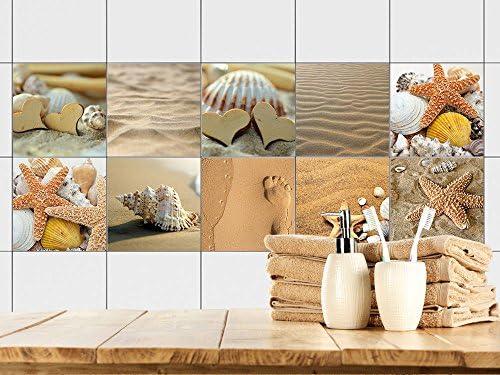 GRAZDesign Fliesenaufkleber Bad - Fliesen zum Aufkleben Muscheln Sand und  Strand | Fliesen mit Fliesenbildern überkleben | 10 Motive | Selbstklebende  ...