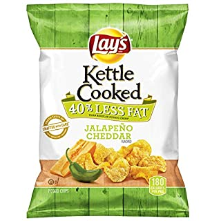 Lay's Kettle Cooked 40% Less Fat Jalapeño Cheddar Flavored Potato Chips, 1.375 Ounce (Pack of 64)