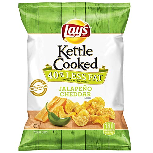 Lay's Kettle Cooked 40% Less Fat Jalapeño Cheddar Flavored Potato Chips, 1.375 Ounce (Pack of 64) (Best Kettle Cooked Chips)