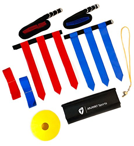 MVMNT Sports Deluxe Flag Football Belt Set Adults Youth Kids – Complete Premium 68 Piece Kit – Includes 14 Durable Belts, 3 Heavy Duty Flags per Belt, 10 Field Cones, Portable Carry Bag, BONUS Whistle