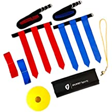 MVMNT Sports Deluxe Flag Football Belt Set Adults Youth Kids - Complete Premium 68 Piece Kit - Includes 14 Durable Belts, 3 Heavy Duty Flags per Belt, 10 Field Cones, Portable Carry Bag, BONUS Whistle