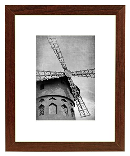 - Wieco Art 8x10 Walnut Wooden Photo Frame Wood Picture Frame for Wall & Tabletop Decor Home Office Decorations with Real Glass Made to Display Pictures 5x7 Inch with Mat or 8x10 Inch Without Mat