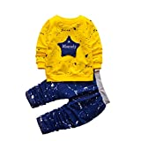 hzxvic 2pcs Baby Boy Girl Clothes Set Infant Outfits Toddler Tops Pants Long Sleeve (4T,Yelllow)