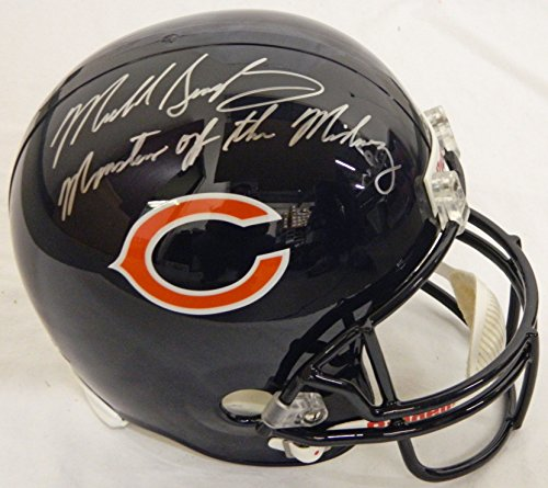 Midway Signed Replica Helmet - Mike Singletary Signed Bears Riddell F/S Replica Helmet w/Monsters of the Midway - Schwartz COA