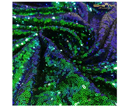 (Ombre Peacock Mini Disk Sequin on Mesh Fabric Green Blue Ombre Sequins Fabric for Dress Mermaid Sequin on Mesh Fabric by The 3 Yards 9 Feet ~1018S)