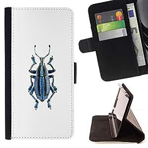 """Bright-Giant (Beetle Bug minimalista Modelo blanco"""") Modelo Colorido Cuero Carpeta Tirón Caso Cubierta Piel Holster Funda Protección Para Apple (5.5 inches!!!) iPhone 6+ Plus / 6S+ Plus"""