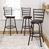 Bar Stools Set of 3 Mainstays Adjustable-Height Swivel Barstool, Hammered Bronze Finish, Set of 3 - Brown
