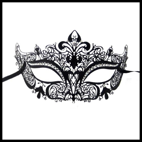 Luxury Mask Women's Laser Cut Metal Venetian Crown Mask , Black No Stones, One Size -