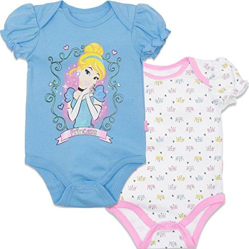 Disney Princess Cinderella Baby Girls' Bodysuit 2pk Blue (6-9 Months)