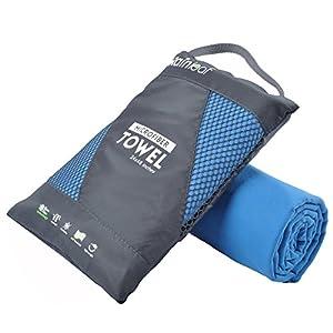 RainLeaf Antibacterial Microfiber Towel, Large (24 x 48 inches), Blue