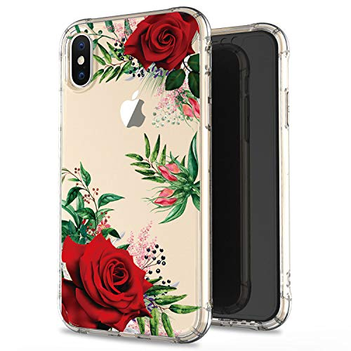 JIAXIUFEN Clear Case Cute Girl Red Flower Slim Shockproof Flower Floral Desgin Soft Flexible TPU Silicone Back Cover Phone Case for iPhone Xs Max 2018 6.5 inch