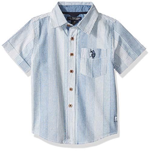 U.S. Polo Assn. Boys' Toddler Short Sleeve Striped Sport Shirt, Blue, 2T