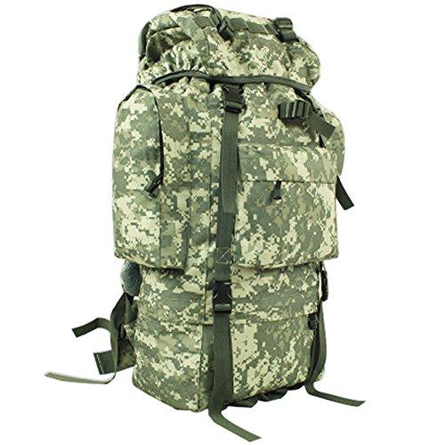 aofit 65L Mochila Militar ejército combate táctico mochila senderismo mochila deportes al aire libre mochila multifunción mochila con bolsa de marco de aluminio en forma de U viaje Camping Senderismo  ACU camouflage