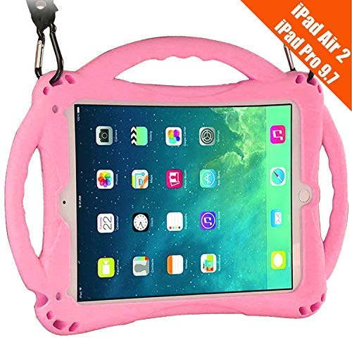 TopEsct iPad Air 2 Case for Kids, Shockproof Silicone Handle Stand Case Cover&(Tempered Glass Screen Protector) for iPad Air 2(A1566,A1567) and iPad Pro 9.7(A1673,A1674,A1675) (Pink)