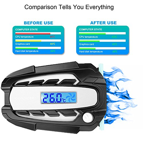 COOCHEER Laptop Cooling Fan Vacuum Cooler with Digital Display,Auto-Temp Detection,Rapid Cooling,USB Power Supply,Perfect for Gaming Laptop Cooler,Support 12-17 Inch Laptops,Black by COOCHEER (Image #1)