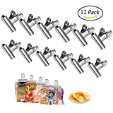 Chip Clips Bag Clips, Adv-one Heavy Duty Food Clips, All-Purpose Air Tight Seal Good Grip Clips Cubicle Hooks for Office School Home,12 Pack