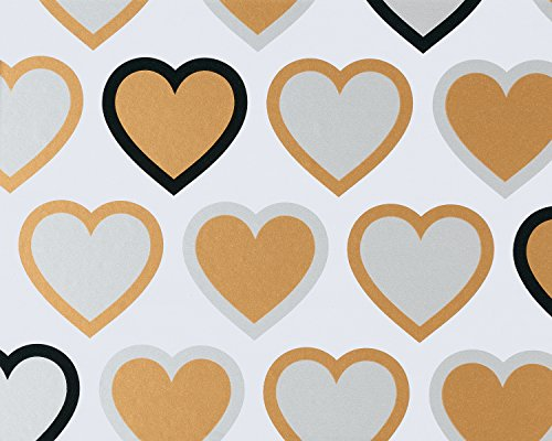 - American Greetings Wedding Wrapping Paper, Gold & Silver Hearts, 2.5' x 3.33'