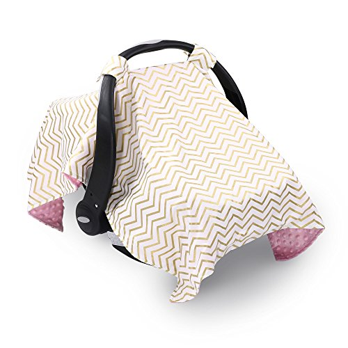 (Metallic Gold Chevron Infant Car Seat Canopy Cover by The Peanut Shell)