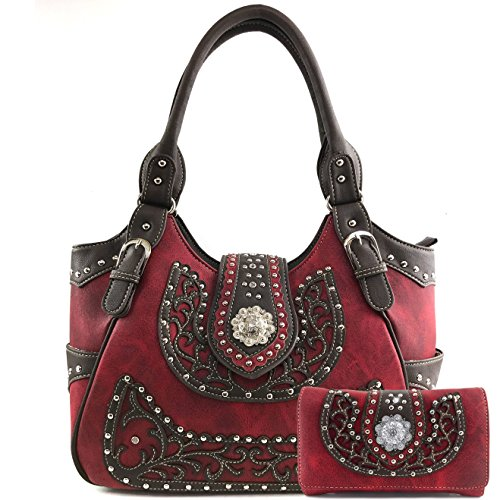 Justin West Concealed Carry Laser Cut Leather Floral Embroidery Rhinestone Berry Concho Studded Shoulder | Tote | Handbag Purse | Messenger Crossbody | Trifold Wallet (Red Concho Purse Wallet Set)