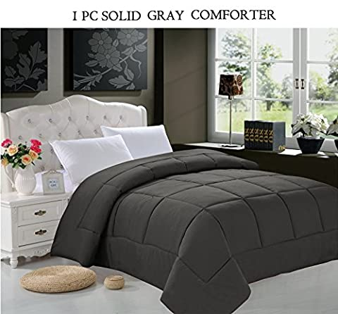 Elegant Comfort All Season Goose Down Alternative 1-Piece SOLID Gray Comforter - Available In All Sizes And Colors , Twin, Gray