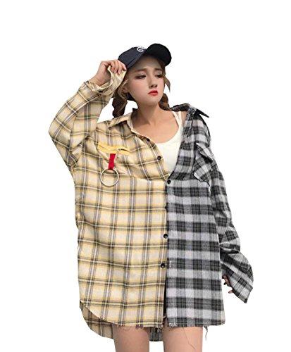 完璧ロゴ退化するDuWei (ドゥウェイ) レディース 格子柄 ロング シャツ ワンピース チェック 柄 長袖 ダブルカラー シンプル 大人 大きめ カジュアル