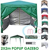 Mcc@home Premier 2x2m Waterproof Pop-up Gazebo with Silver Protective Layer Marquee Canopy (WS) (Green)