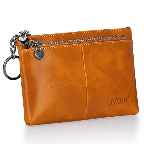 S-ZONE Women's Genuine Leather Mini Wallet Change Coin Purse Card Holder with Key Ring ()