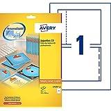 Avery 25 Jaquettes CD (Face, Tranches et Dos)  - 151x118mm - Impression Laser et Jet d'Encre - Blanc (L7435)