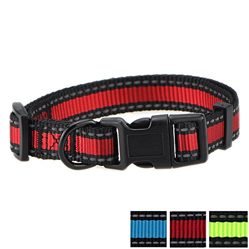 (Mile High Life Dog Collar | Reflective 3M Stripe with Nylon Band (Red/Black, Small Neck 12